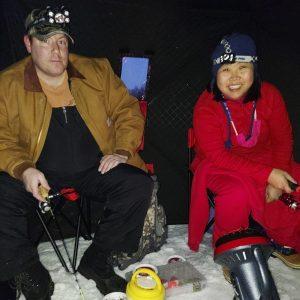 Callie ice fishing on the lake.