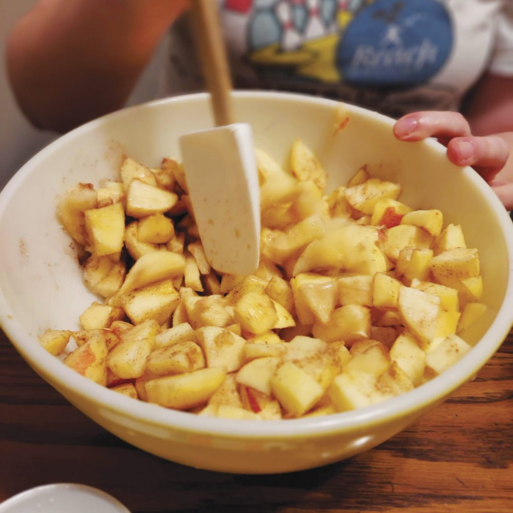 Cubed apples in a bowl with cinnamon