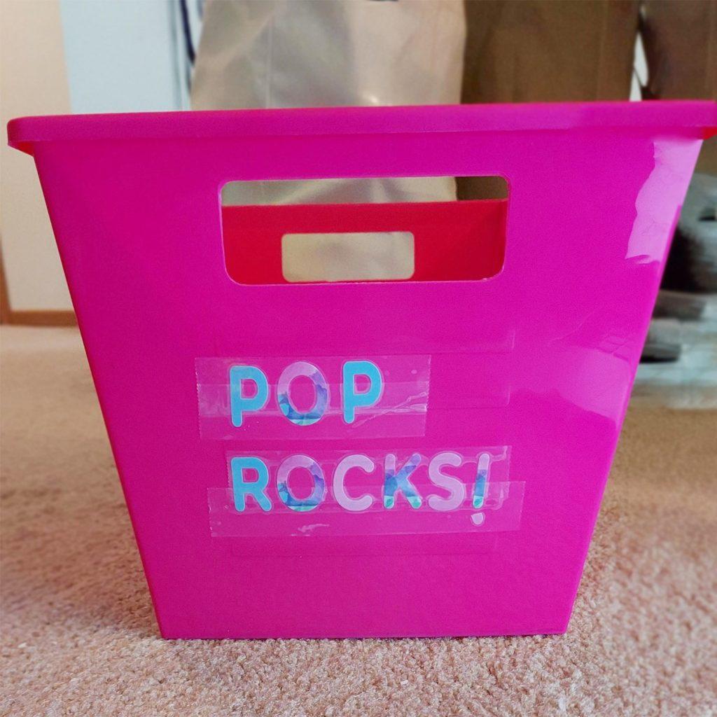 Pop Rocks bin in pink.