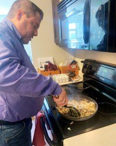 James cooking beef stroganoff.